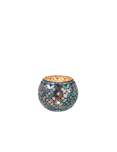 J-Line Tea-Light Holder Mosaic Round Glass