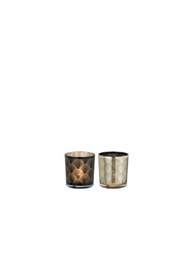 J-Line Tealight Holder Black/Gold Assortment Of 2