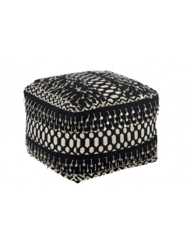 J-Line Hassock Pearls Cotton Black/White