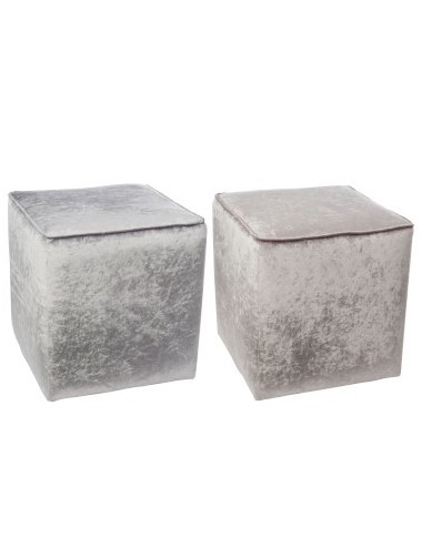 J-Line Hassock Square Velvet Assortment Of 2