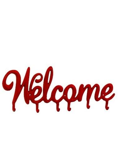 J-Line Coatrack Welcome Metal Red