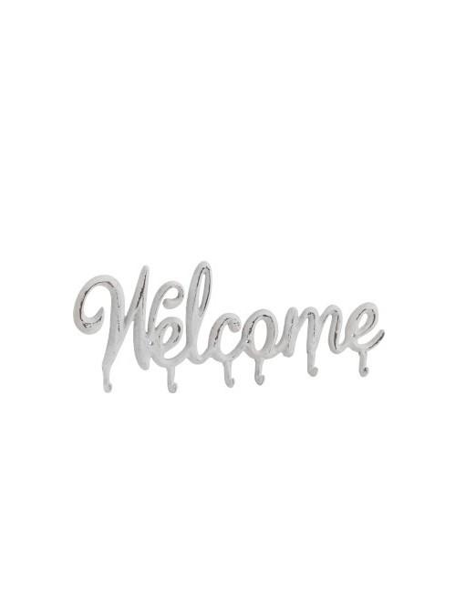J-Line Coatrack Welcome Metal White