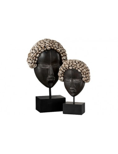 J-line Mask African Woman On Foot Polyresin (set)