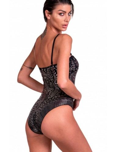 PIN UP One-piece Tulle Swimsuit Rubber Print Etnic Flower